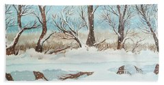 Snow On The Ema River 2 Beach Towel