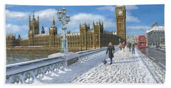 Snow On Westminster Bridge Beach Sheet by Richard Harpum