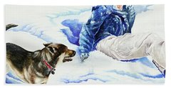 Snow Play Sadie And Andrew Beach Towel