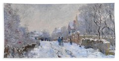 Beach Towel featuring the painting Snow Scene At Argenteuil by Claude Monet