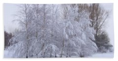 Snow Trees Beach Towel