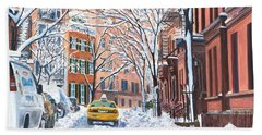 Snow West Village New York City Beach Towel