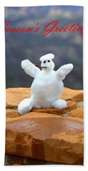 Snowball Snowman Beach Towel
