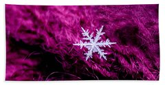 Snowflake On Magenta Beach Towel