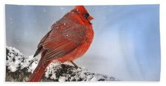 Beach Towel featuring the photograph Snowing On Red Cardinal by Nava Thompson