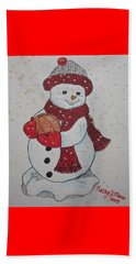 Snowman Playing Basketball Beach Towel