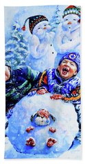 Beach Towel featuring the painting Snowmen by Hanne Lore Koehler