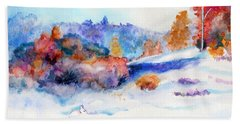Beach Towel featuring the painting Snowshoe Day by C Sitton