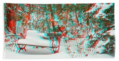 Snowy Bench - Use Red-cyan Filtered 3d Glasses Beach Towel