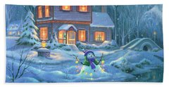Snowy Bright Night Beach Towel