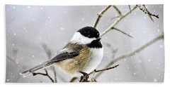 Snowy Chickadee Bird Beach Towel by Christina Rollo