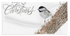 Snowy Chickadee Christmas Card Beach Towel