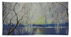 Snowy Day At The Lake Beach Towel