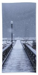 Snowy Day On The Boardwalk Beach Towel