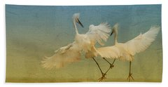 Snowy Egret Dance Beach Towel by Deborah Benoit
