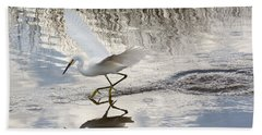 Snowy Egret Gliding Across The Water Beach Sheet