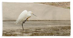 Snowy Egret Taking Advantage Of The Flood Beach Towel