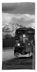 Snowy Engine Through The Rockies Beach Towel