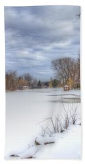 Snowy Lake Beach Towel