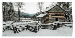 Beach Towel featuring the photograph Snowy Log Cabin by Debbie Green