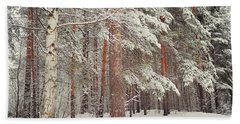Snowy Memory Of The Woods Beach Towel