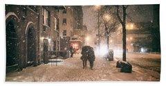 Snowy Night - Winter In New York City Beach Towel