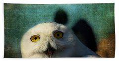 Snowy Owl Beach Towel by Denyse Duhaime
