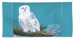 Beach Sheet featuring the painting Snowy Owl by Seth Weaver