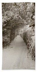 Snowy Path Beach Towel by Vicki Spindler