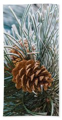 Snowy Pine Cones Beach Sheet
