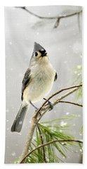 Snowy Songbird Beach Towel by Christina Rollo