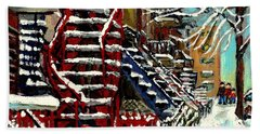 Snowy Steps The Red Staircase In Winter In Verdun Montreal Paintings City Scene Art Carole Spandau Beach Towel