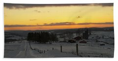 Snowy Pennsylvania Sunset Beach Towel