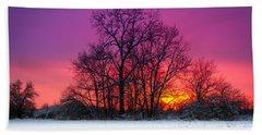Snowy Sunset Beach Towel