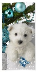 Snowy White Puppy Present Beach Towel