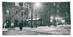 Snowy Winter Night - Sutton Place - New York City Beach Towel