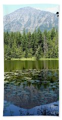 Beach Towel featuring the photograph Snyder Lake Reflection by Kerri Mortenson
