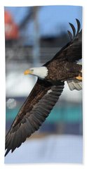 Beach Towel featuring the photograph Soaring Eagle by Coby Cooper