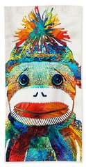 Sock Monkey Art - Your New Best Friend - By Sharon Cummings Beach Towel