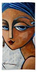 Beach Towel featuring the painting Sofia by Oscar Ortiz