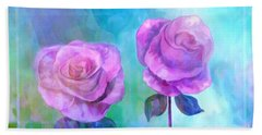 Beach Towel featuring the painting Soft And Beautiful Roses by Annie Zeno