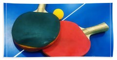 Soft Dreamy Ping-pong Bats Table Tennis Paddles Rackets On Blue Beach Towel