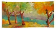 Beach Towel featuring the painting Soft Trees by Michelle Abrams
