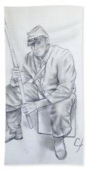 Waiting Soldier Beach Towel