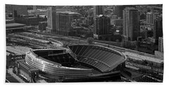 Soldier Field Chicago Sports 05 Black And White Beach Towel by Thomas Woolworth