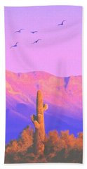 Beach Towel featuring the painting Solitary Silent Sentinel by Sophia Schmierer