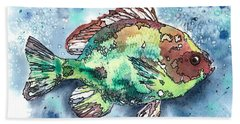 Beach Sheet featuring the painting Something's Fishy Two by Barbara Jewell