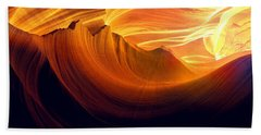 Beach Sheet featuring the photograph Somewhere In America Series - Golden Yellow Light In Antelope Canyon by Lilia D