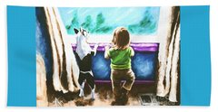 Waiting For Daddy Beach Towel by Jackie Carpenter