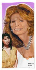 Beach Towel featuring the digital art Sophia Loren by Thomas J Herring